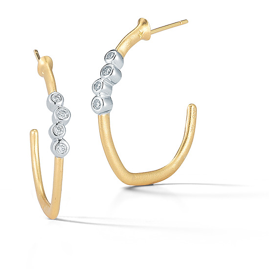 Scribble Small Gold and Diamond Cluster Hoops