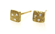 Square Gold and Diamond Studs by Ayesha Mayadas (Gold & Stone Earrings)