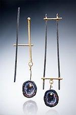 Asymmetrical Earrings with Small Geode by Nina Mann (Gold, Silver & Stone Earrings)