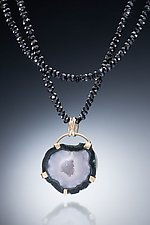 Black Spinel, 18k and Geode Necklace by Nina Mann (Gold & Stone Necklace)