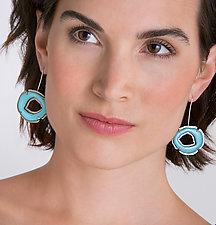 Small Single Rough Cut Enamel Earrings by Lisa Crowder (Enameled Earrings)