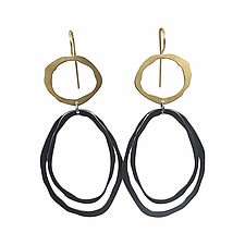 Thin Fixed Wire Double Drop Earrings by Lisa Crowder (Gold & Silver Earrings)