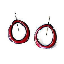 Thin Rough Cut Enamel Earrings in Red by Lisa Crowder (Enameled Earrings)
