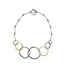 Rough Cut Seven-Circle Necklace by Lisa Crowder (Gold & Silver Necklace)