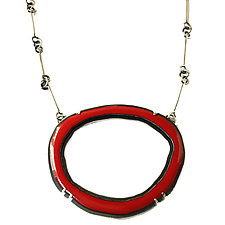 Large RC Necklace in Red by Lisa Crowder (Enameled Necklace)