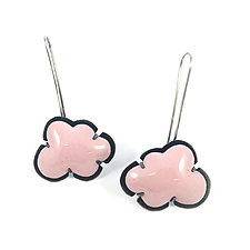 Pink Enamel Cloud Earrings by Lisa Crowder (Earrings)