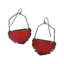 Enamel Geo Bucket Earrings by Lisa Crowder (Enameled Earrings)