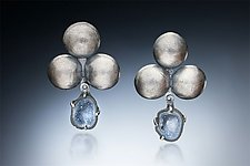 Domed Earring with Geode by Nina Mann (Silver & Stone Earrings)