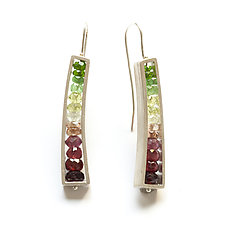 Slender Wedge Earrings in Watermelon Colors by Ashka Dymel (Silver & Stone Earrings)