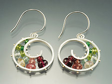 Medium Spiral Earrings in Watermelon by Ashka Dymel (Silver & Stone Earrings)