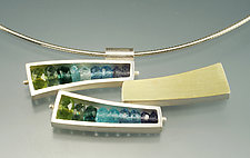 Triple Wedge Necklace in Blue Green by Ashka Dymel (Gold, Silver & Stone Necklace)