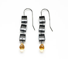 Mini Square Earrings with Citrine Teardrop by Ashka Dymel (Silver & Stone Earrings)