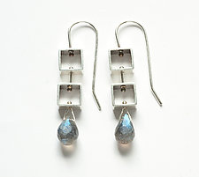 Mini Square Earrings with Labradorite Teardrop by Ashka Dymel (Silver & Stone Earrings)