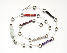 Multi Square Necklace by Ashka Dymel (Silver & Stone Necklace)