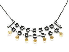 Multi-Square Necklace with Citrines by Ashka Dymel (Silver & Stone Necklace)