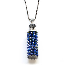 Beaded Lantern Necklace in Lapis by Ashka Dymel (Silver & Stone Necklace)