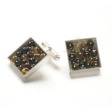 Square Cufflinks by Ashka Dymel (Silver & Stone Cufflinks)