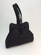 Halle Evening Bag in Black Silk Satin by Michelle  LaLonde  (Leather Purse)