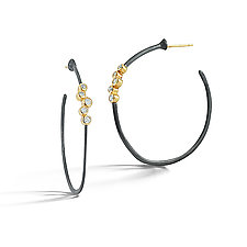 Scribble Diamond Cluster Hoops by Dana Melnick (Gold, Silver & Stone Earrings)
