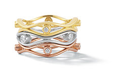 Scribble Double Wave Stack Band by Dana Melnick (Gold & Stone Ring)