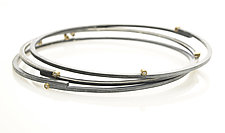 Stepped Bangle in Silver, Gold and Diamonds by Ayesha Mayadas (Gold, Silver, & Stone Bracelet)