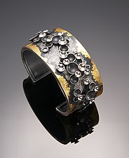 Small Oriental Hill Series Cuff by So Young Park (Gold & Silver Bracelet)