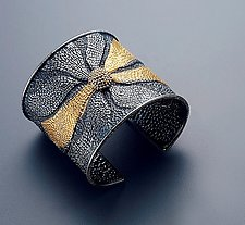 Dotted Flower Cuff by So Young Park (Gold & Silver Bracelet)