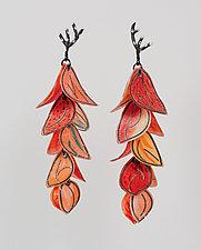 Upturned Petal Blossom Earrings by Carol Windsor (Silver & Paper Earrings)