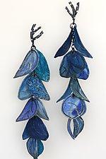 Upturned Petal Blossom Earrings in Cobalt and Azure by Carol Windsor (Silver & Paper Earrings)