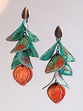 Turquoise and Coral Blossom Earrings by Carol Windsor (Silver & Paper Earrings)