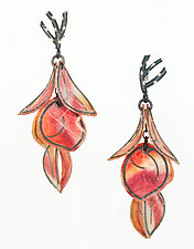 Salmon Six-Petal Flip Earrings by Carol Windsor (Silver & Paper Earrings)