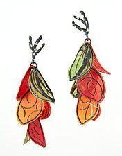 Autumn Petal Flip Earrings by Carol Windsor (Silver & Paper Earrings)