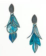 Azure Flip Earrings by Carol Windsor (Silver & Paper Earrings)