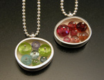 Small Oval Necklace by Ashka Dymel (Silver and Stone Pendant)