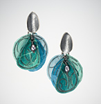 Aqua Blossom Earrings by Carol Windsor (Silver & Paper Earrings)