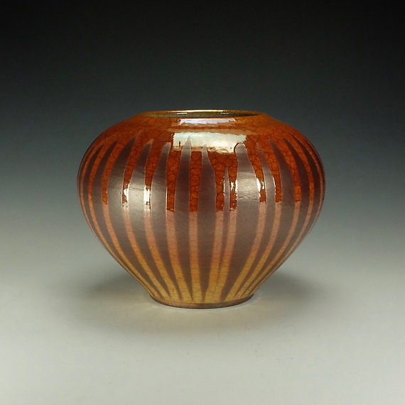 Rounded Striped Raku Jar