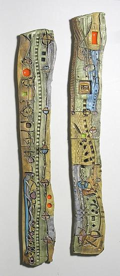 Abstract Space Slender Columns By Janine Sopp Ceramic