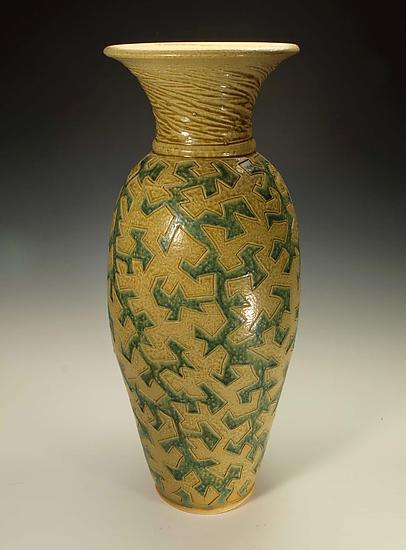Puzzle Vessel with Yellow and Green Ash Glazes