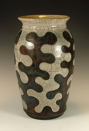 Puzzle Vessel with Copper and Crackle Glazes