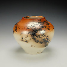 Horsehair Raku Stoneware Vessel IX by Lance Timco (Ceramic Vessel)