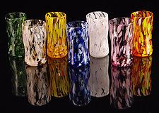 Multi-Colored Juice Cups - 8 Piece Set by Corey Silverman (Art Glass Cups)