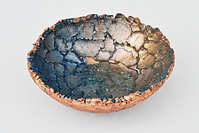 Blue Copper Shimmer by Mira Woodworth (Art Glass Bowl)