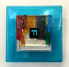Chai Blessing Plaque in Turquoise and Rainbow by Alicia Kelemen (Art Glass Wall Sculpture)