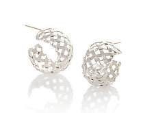 Silver Hand-Woven Hoop Earrings by Gabriel Ofiesh (Silver Earrings)