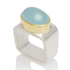 Square Ring: Aquamarine by Gabriel Ofiesh (Gold, Silver & Stone Ring)