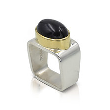 Square Ring: Onyx by Gabriel Ofiesh (Gold, Silver & Stone Ring)