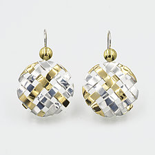 Hand-Woven Hanging Circle Earrings by Gabriel Ofiesh (Gold & Silver Earrings)