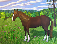 Horse, Milkweed & Monarchs by Jane Troup (Giclee Print)