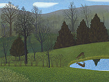Deer at Pond by Jane Troup (Giclee Print)