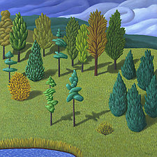 Hill with Trees by Jane Troup (Giclee Print)